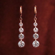 New zircon long earrings imitation allergy fresh selling