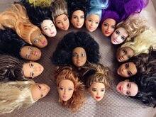 Raro coleção escolher estilo bom cabeças de boneca cabelo azul roxo boneca acessórios menina diy vestir princesa brinquedo boneca cabeças
