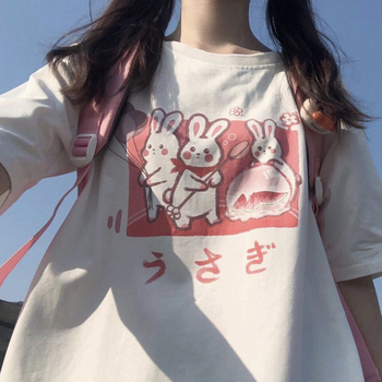 Aesthetic Bunny Print T Women's Clothing & Accessories Tops & Tees T-Shirts cb5feb1b7314637725a2e7: Blue|Pink
