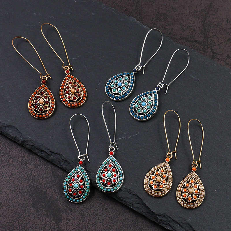 New Arrival Vintage Boho Ethic Multicolor Beads Dangle Water Drop Earrings India Fashion Jewelry Women Girl Wedding Party Gifts