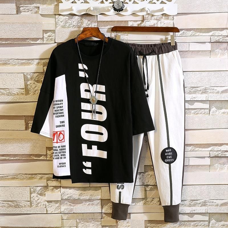 tops and sweatpants two piece set mens clothes jogger set men's clothing...