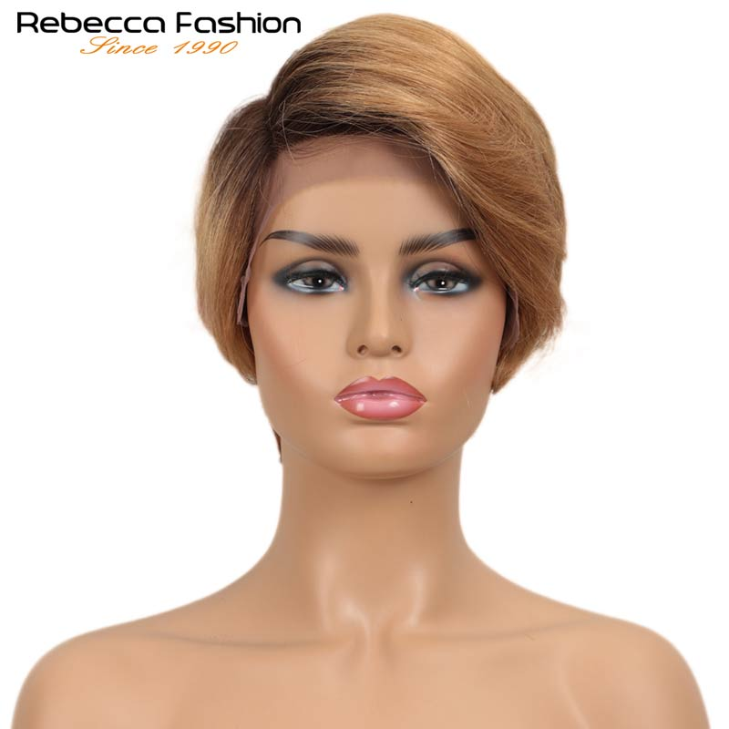 Rebecca Lace Frotal Wig Short Fashion Straight Hair Wigs For Women Pixie Cut Wig Pre Plucked Burgundy  Blonde Color Free Ship