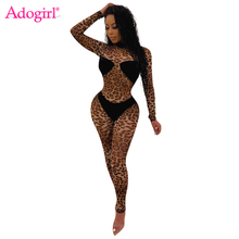Adogirl Leopard Print Patchwork Women Sexy Jumpsuit 2019 Autumn New Long Sleeve Slim Romper Night Club Party Outfits Bodysuit adogirl one shoulder pant basic night club silk bodysuit women sexy autumn bodysuits 2019 fashion long sleeve skinny outfits