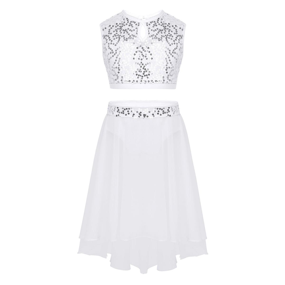 Image 4 - Girls Lyrical Dance Costumes Ballet Dress Sleeveless Sequined Crop Top with Dipped Hem Chiffon Skirt Set for Celebration DancingBallet   -