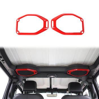 for Jeep Wrangler JL 2018 Car Interior Roof Speaker Ring Decoration Cover Decals Red/Carbon Fiber/Sliver ABS Plastic Accessories