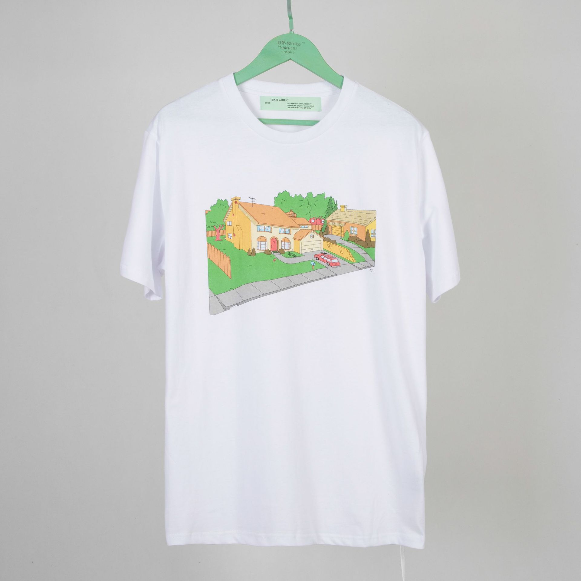 Ow Popular Brand Off White2019 Spring And Summer Simpson Garden Couples Men And Women Celebrity Style Pure Cotton Short Sleeve M