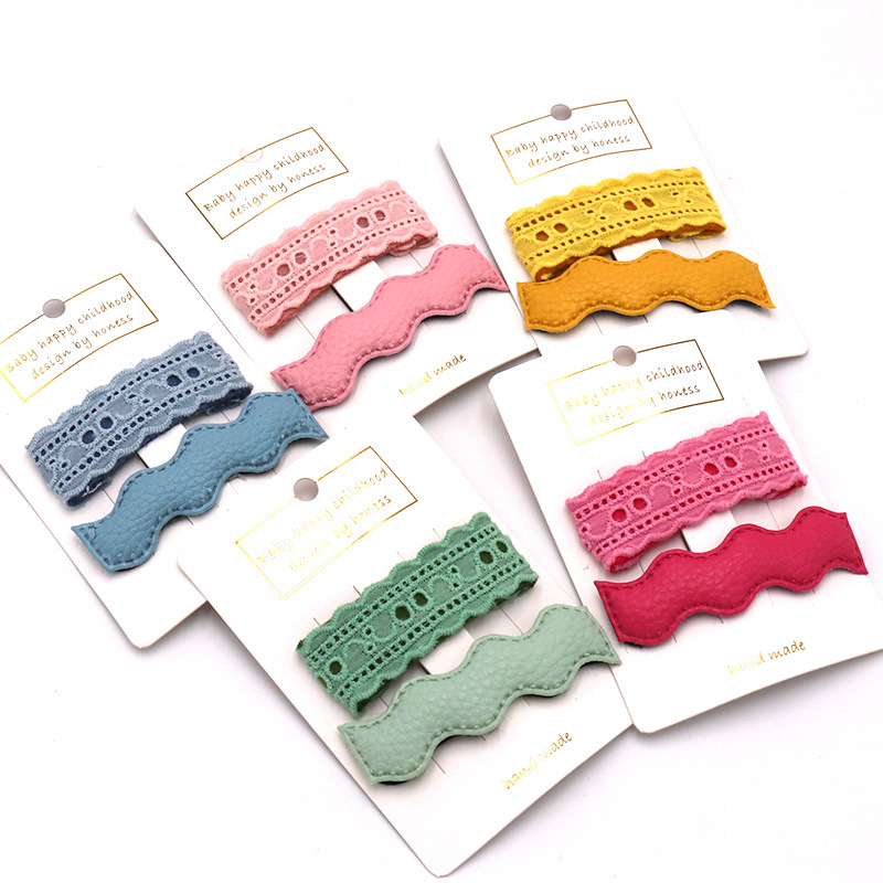 2PCS  6*7cm Korean Hot Solid Color Geometry Lace BB Hair Clips PU Leather Headwear Accessory Gift For Girls Women