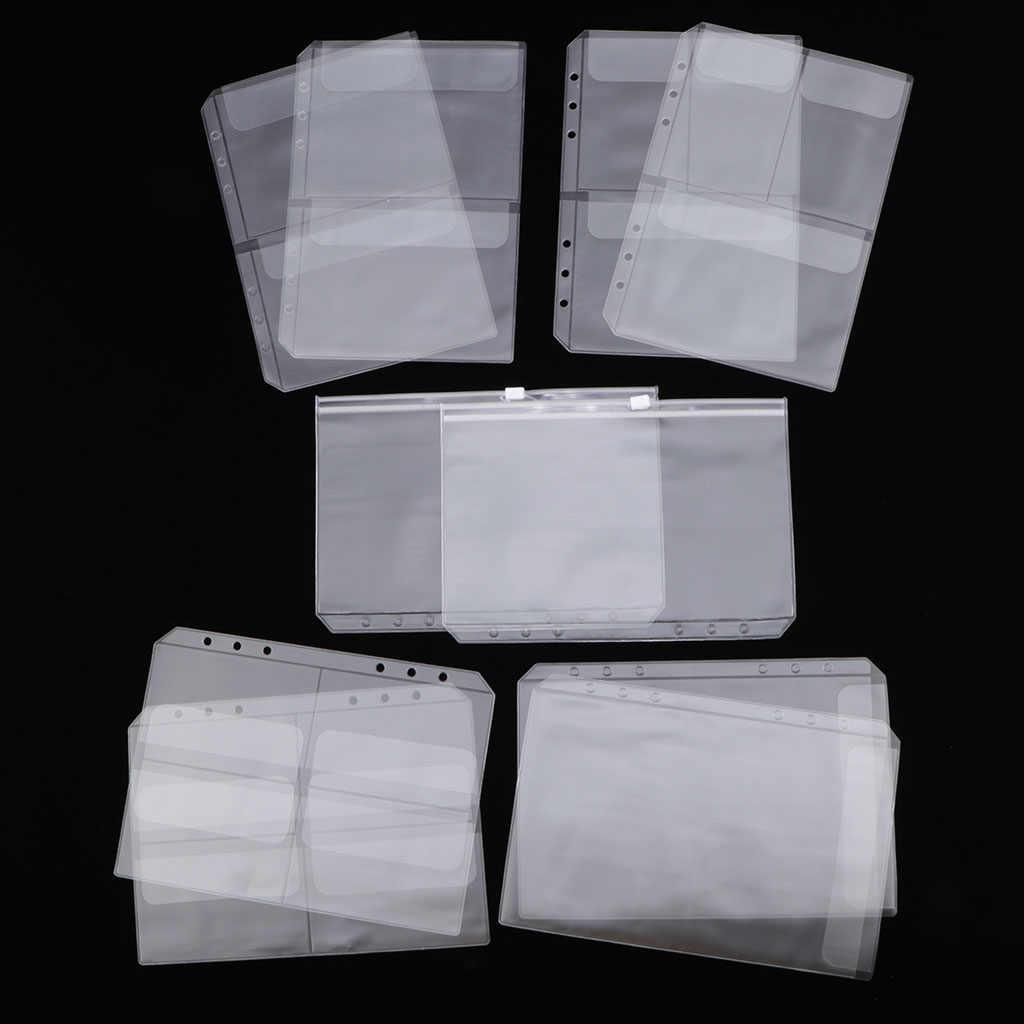 10 حزمة A5 الموثق جيب مع 6 ثقوب الموثق الأكمام بولي كلوريد الفينيل وثيقة ملء أكياس الموثق المجلدات-يصلح ل 6 حلقات دفتر