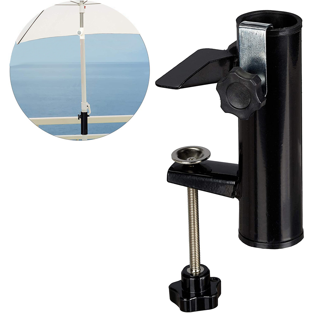 com-four/® 2x Parasol stand Parasol stand for parasol poles 22-28 mm and plate thickness up to 35 mm Parasol holder for balcony railing or table