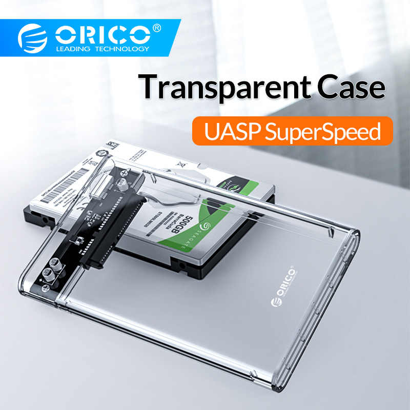 ORICO HDD Case 2.5 inch Transparante SATA naar USB 3.0 3.1 Hard Disk Case Tool Gratis 5Gbps 4TB UASP Type C SSD HDD Behuizing 10Gbps