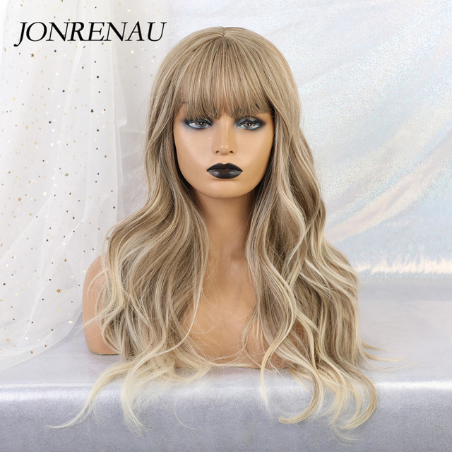 JONRENAU Synthetic Ombre Brown Mixed Blonde Wigs with Bangs Long Natural Wave Hair Party Wigs for White/Black Women
