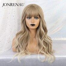 Jonrenau合成オンブル茶色の混合ブロンドかつら前髪ロング自然なウェーブヘアー白人/黒女性
