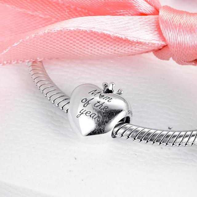 Mamma Dellanno Fascino Del Cuore Adatto Orignal Bracciali Donna perline FAI DA TE per monili che fanno Argento kralen voor sieraden maken