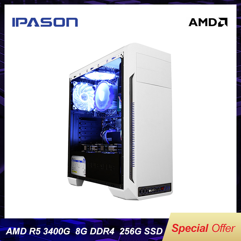 IPASON Cheap Gaming PC AMD Ryzen5 2400G Upgrade 3400G DDR4 8G RAM 256G SSD Desktop Computers High Effects Office Devices