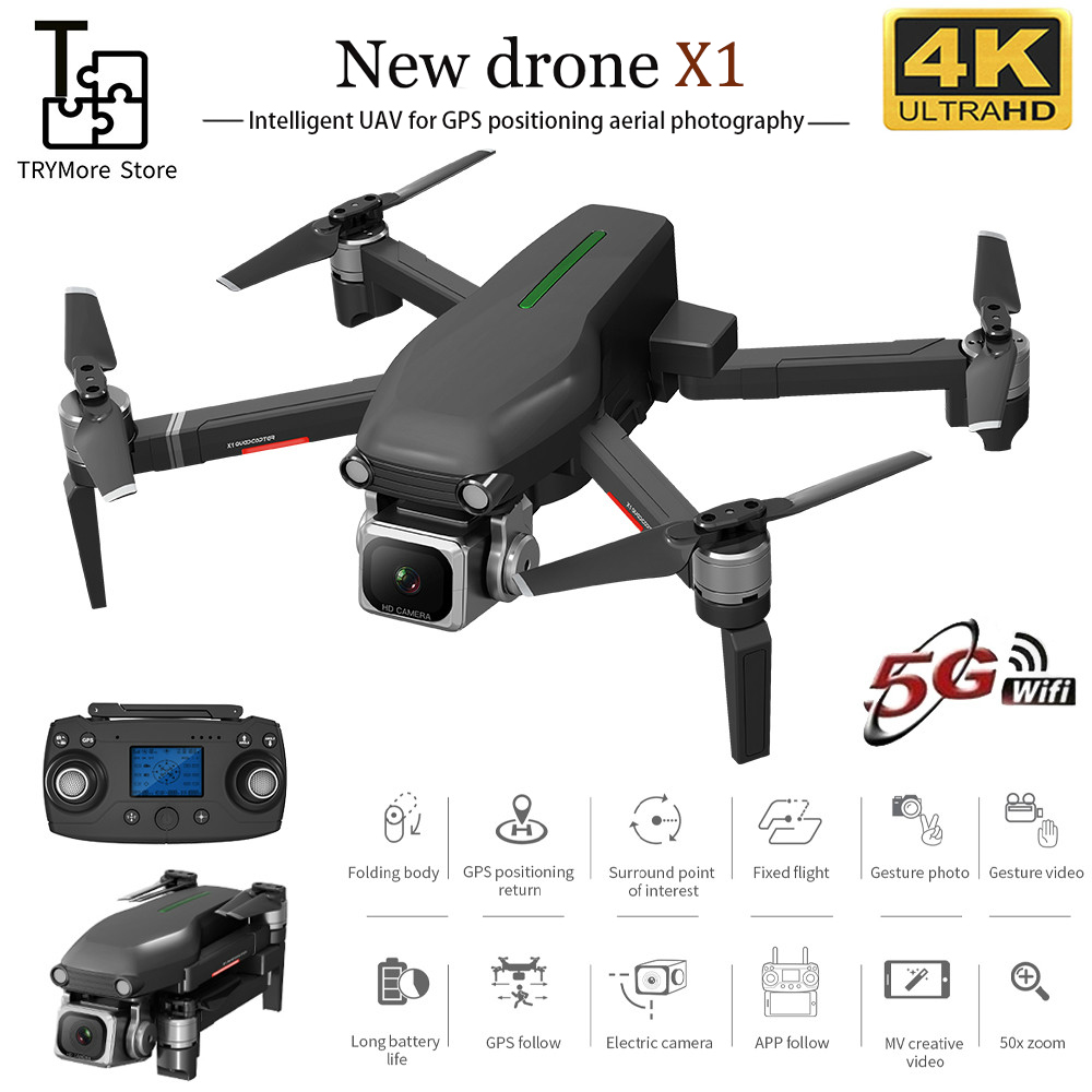TRY X1 Rc Drone With Gps Hd 4k Camera 5g Wifi Brushless Motor Control Distance 1000m Flight 28 Minutes Boy's Gifts Vs L109 F11|RC Helicopters| |  - title=