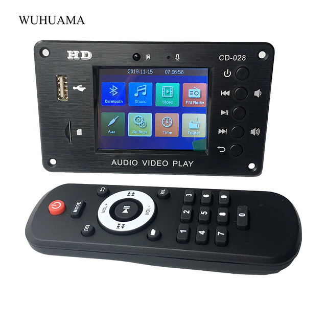 Bluetooth 5.0 2.8 Inch TFT MP3 Decoder Board  Audio Receiver HD Video Player AVI FLAC MOV APE Decoding FM Radio Alarm For Car