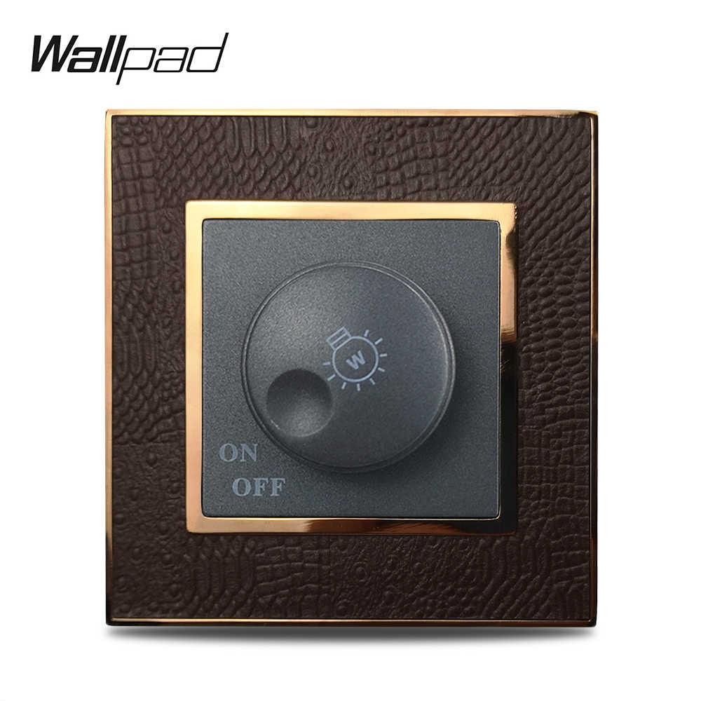 باهتة التبديل Wallpad ضوء سطوع باهتة التبديل منظم 500W الجدار التبديل لوحة جلدية الذهب الإطار