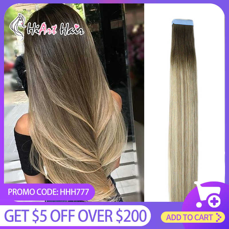 Hiart 2.5 G/stk Tape Hair Extensions In Human Remy Hair Salon Double Drawn Straight Hair Extension Plakband Balayage Russische