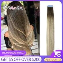 HiArt 2.5 G/шт выдвижения волос ленты в человеческих волос Remy салон дважды обращается прямые волосы расширение клей выметание Лента русских