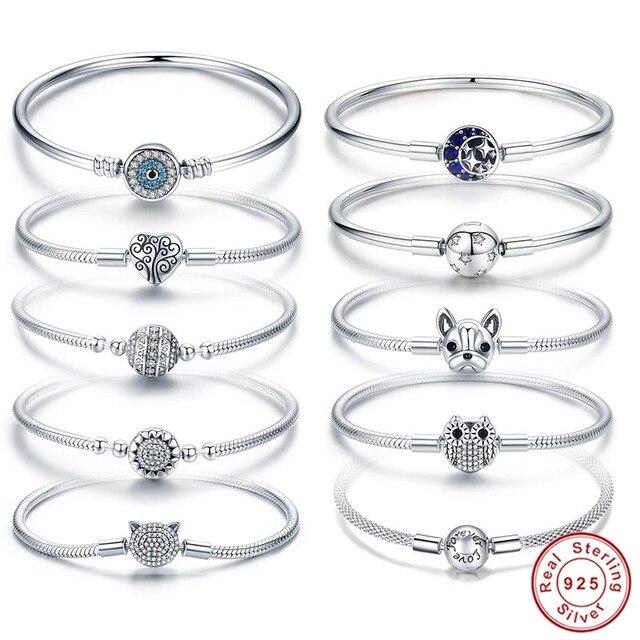Оригинальный браслет, подходит для фирменного шарма из стерлингового серебра 925 пробы, CZ, луна, сердце, дерево, дьявол, глаз, змеиная цепочка, собака, Сова, бусины, банджи для женщин