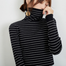 LHZSYY Autumn Winter New Womens Knitted Striped Turtleneck Sweater Fashion Tight Bottoming shirt Short Wild Soft Knit Pullover