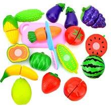 Crianças pequenos brinquedos conjunto de frutas frescas legumes corte brinquedo engraçado simulação cozinha terno comida aprendizagem cedo presentes educativos
