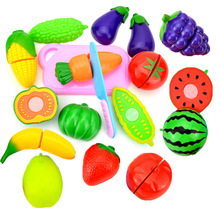 Children's Small Toys Set Fresh Fruit Vegetables Cutting Toy Funny Kitchen Simulation Suit Food Learning Early Educational Gifts
