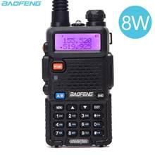 Baofeng uv 5r 8w rádio em dois sentidos real 8w 10km 128ch banda dupla vhf (136-174mhz) uhf (400-520mhz) amador presunto portátil walkie talkie