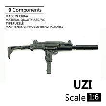 1:6 УЗИ пистолет-пулемет Пластик в собранном виде огнестрельное оружие модель головоломка для детей возрастом от 12