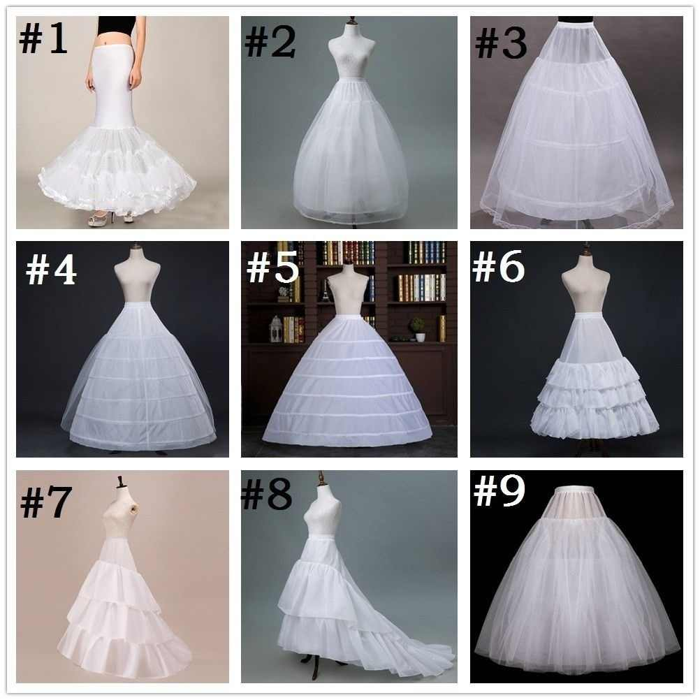 White Multi Style Petticoats Mermaid Trump A Line Ball Gown Crinoline Underskirt