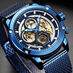 Naviforce 9167 relógio masculino de aço inoxidável relógio de pulso de quartzo do esporte militar do homem da marca de luxo