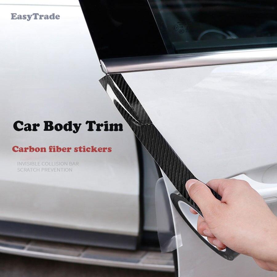 Carbon Fiber on Car Stickers Door Bumper Trunk Decoration Car Body Trim For Vesta 2018 2019 Car Interior Accessories in Interior Mouldings from Automobiles Motorcycles