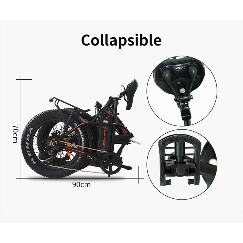 AOSTIRMOTOR Elektrische Bike Folding Fett Reifen Elektrische Fahrrad Strand Cruiser EBike 500W 36V 13Ah Lithium-Batterie E-bike UNS Lager
