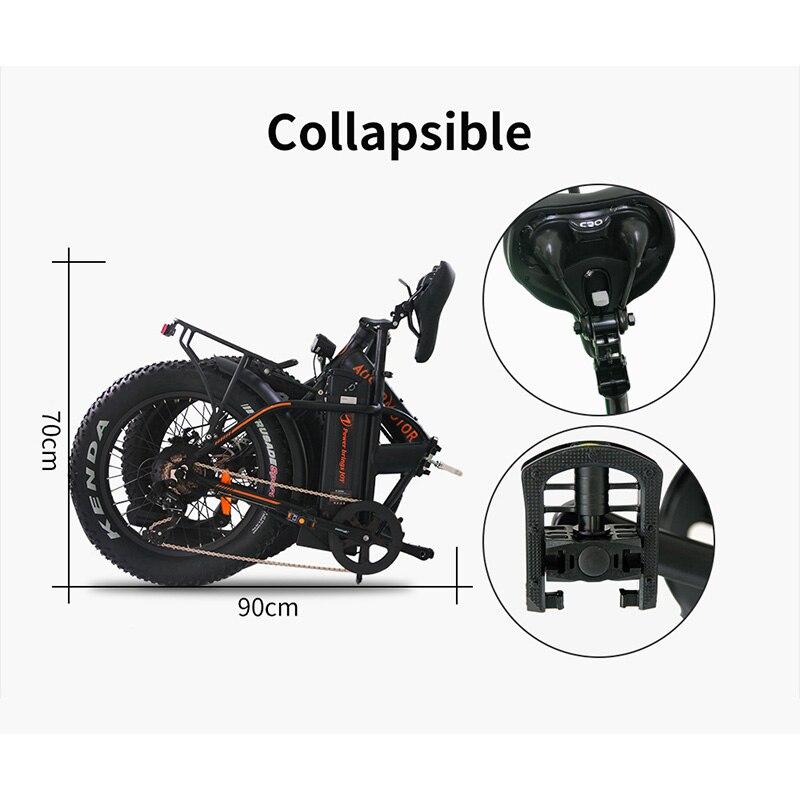 AOSTIRMOTOR elektryczny rower składany rower elektryczny na grubych oponach rower Beach Cruiser EBike 500W 36V 13Ah bateria litowa e-bike z usa