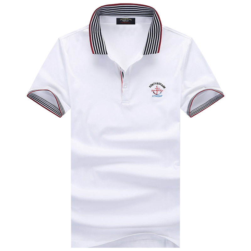 Brand Men Clothing Casual Men's   Polo   Shirt Solid Color Summer Short Sleeve Striped Collar Cotton Embroidery Shark   Polos   shirts