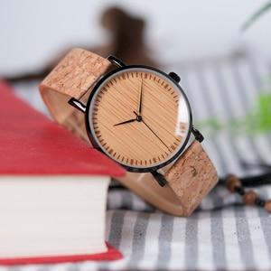 Image 3 - BOBO BIRD Stylish Wood Women Quartz Watch relogio feminin Stainless Steel Case With Cork Leather Band Thickness часы женские