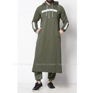 Image 1 - Men Jubba Thobe Arabic Islamic Clothing Muslim Dress Saudi Arabia Long Robe Abaya Dubai Loose Blouse Kaftan Sweater Hoodies Tops