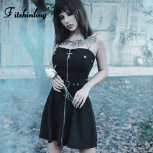 Fitshinling Zipper Goth Dark Dresses Women Belt Chian Strap Sleeveless Black Dress Grunge Harajuku A Line Slim Short Robe Femme