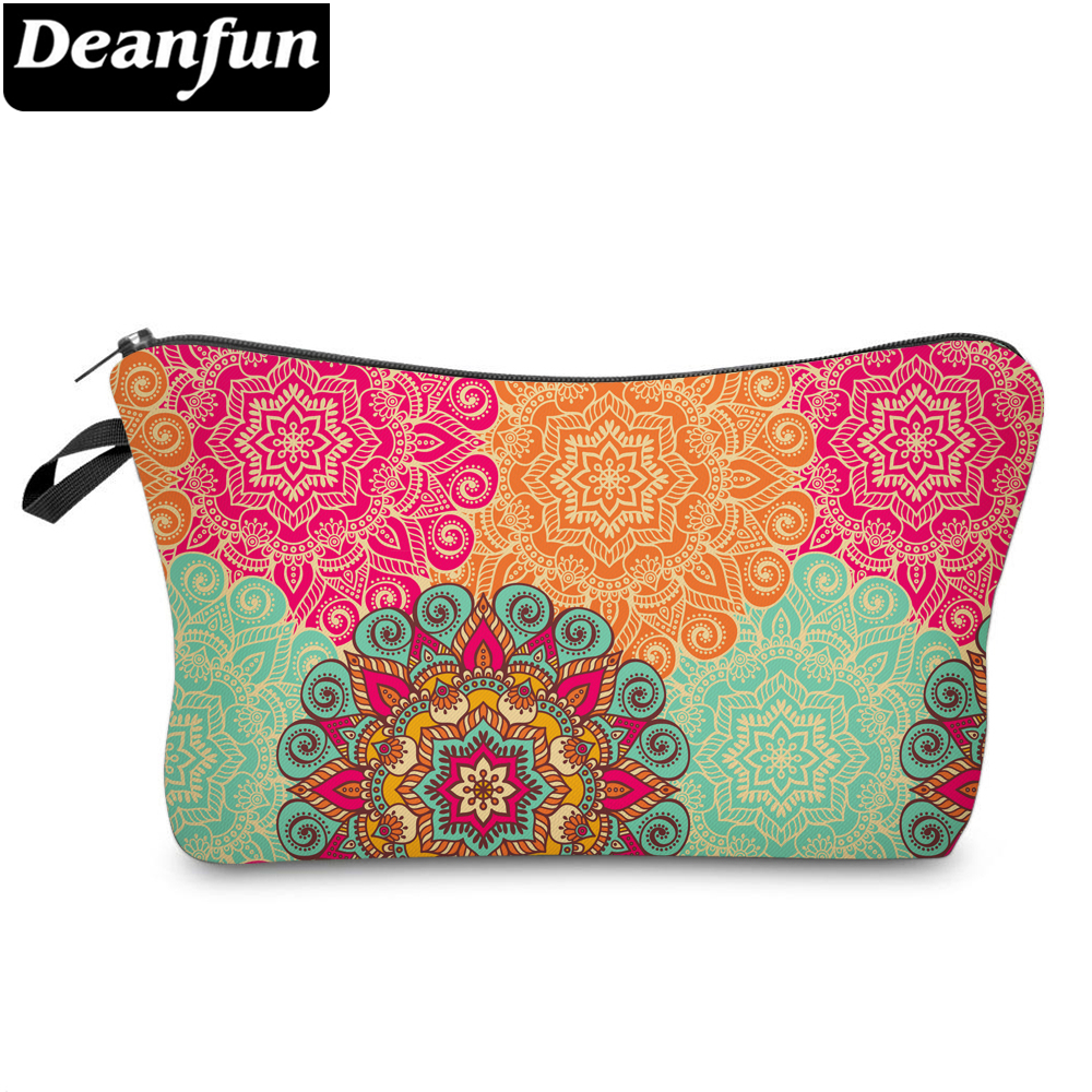Deanfun Colorful Mandala Flower Pretty Cosmetic Bag 3D Printed Waterproof Makeup Bag For Women 51560
