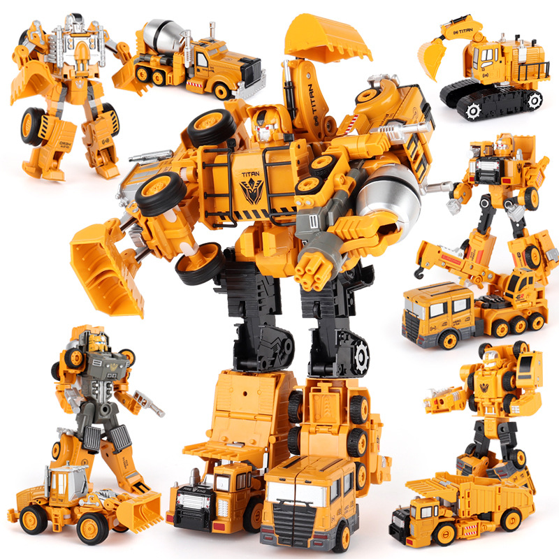 Alloy Transforms Robot Car Diecasts Engineering Construction Vehicle Truck Assembly Deformation Toy 2 in 1 Robot Kid Toys Gifts(China)
