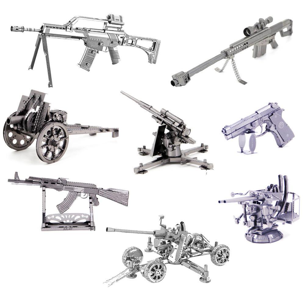 Cheap 3D Metal Puzzle Weapon AK47 Artillery Model Kits DIY Laser Cut Puzzles Jigsaw Model Educational Toys For Adult Children