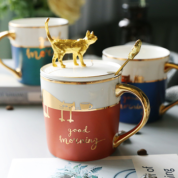 Creative Ceramic Mug with Lid Spoon Simple Animal Pet Coffee Mug Gold Personalized Taza Gato Gifts for Teacher Mug Milk HH50MK