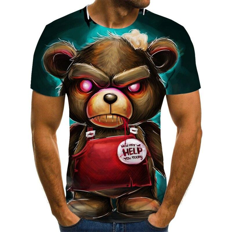 Camiseta con estampado punky digital 3D, camiseta de manga corta ajustada, divertida, popular, Europa/América, 2021