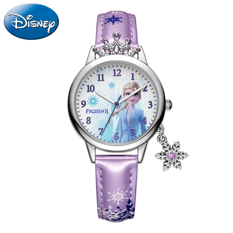 Frozen Ⅱ Disney Princess Series Elsa Luxury Bling Rhinestone Crown Snowflake Pendant Beautiful Girls Watches Children Watch New