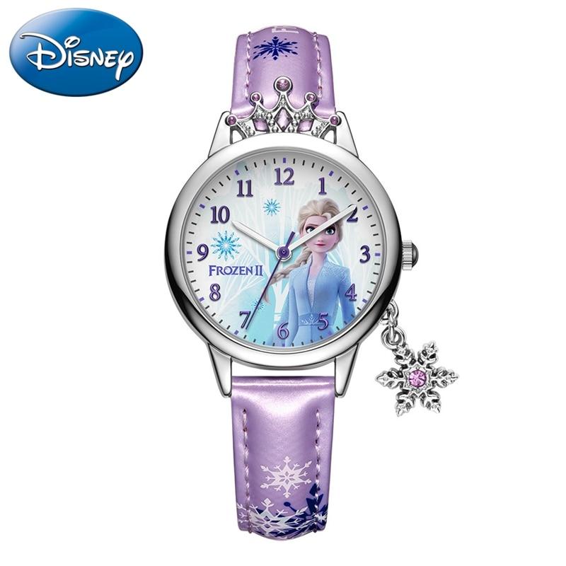 Frozen Ⅱ Disney Princess Series Elsa Luxury Bling Rhinestone Crown Snowflake Pendant Beautiful Girls Watches Children Watch New