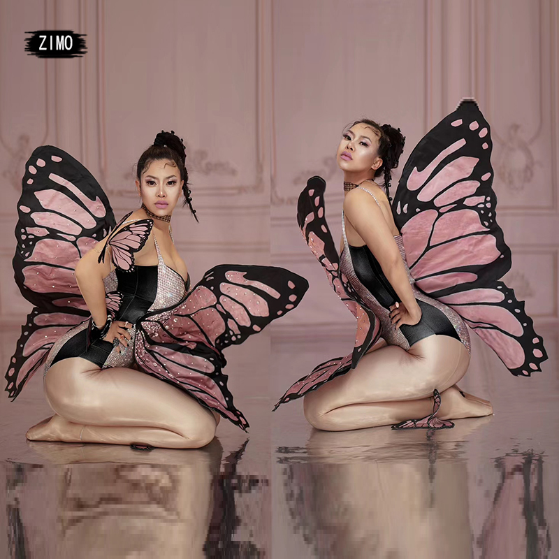 Dance-Clothes Rhinestone Bodysuit Rave-Accessories Festival Butterfly Wings Fairy Stage