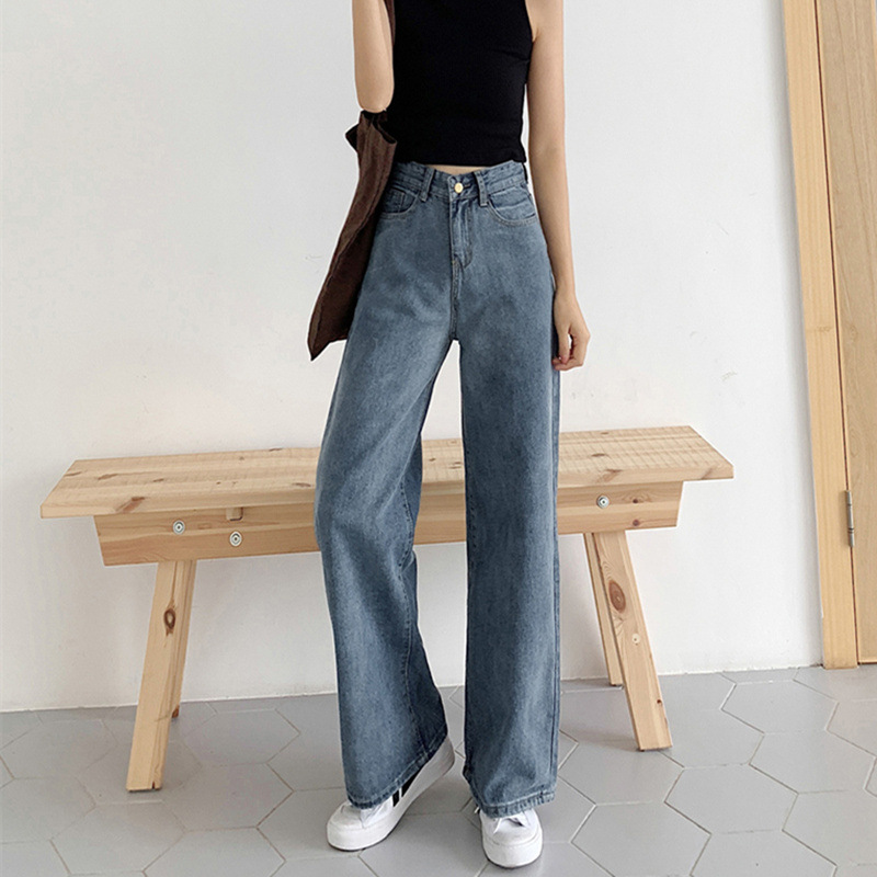 Wide leg   jeans   female 2019 summer new loose casual Women college 9F01