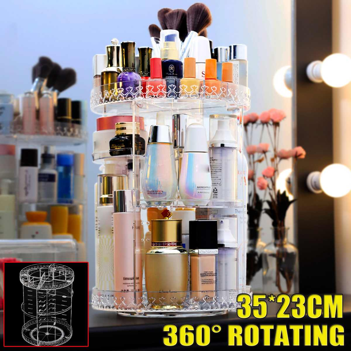 360 Degree Rotation Transparent Acrylic Cosmetics Storage Box Fashion Spin Multi-function Detachable Makeup Beauty Organizer thumbnail