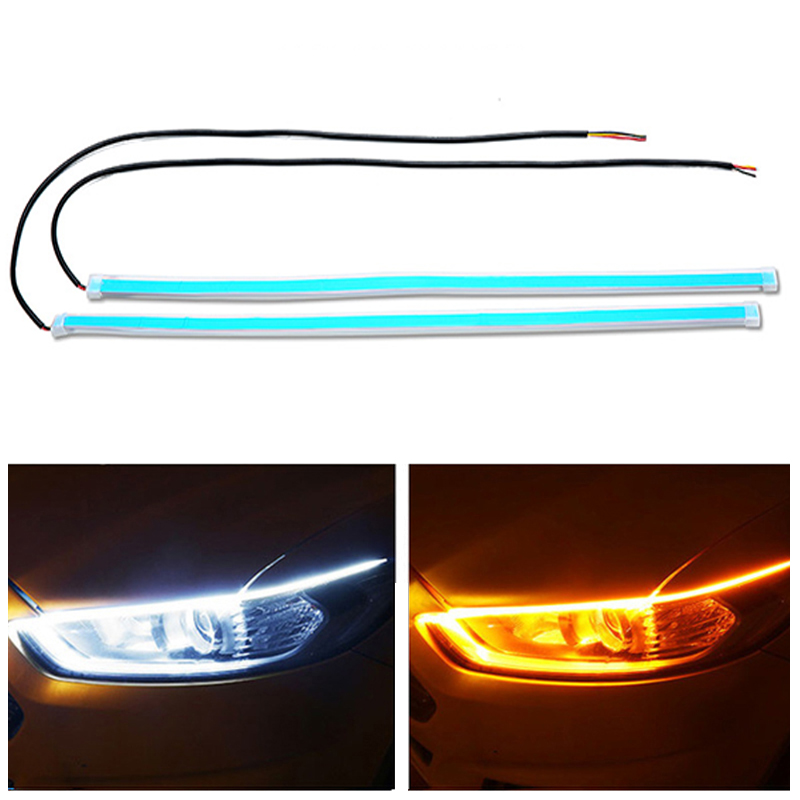 2x Ultrafine DRL 30 45 60cm Daytime Running Light Flexible Soft Tube Guide Car LED Strip White Red Turn signal Yellow Waterproof 6