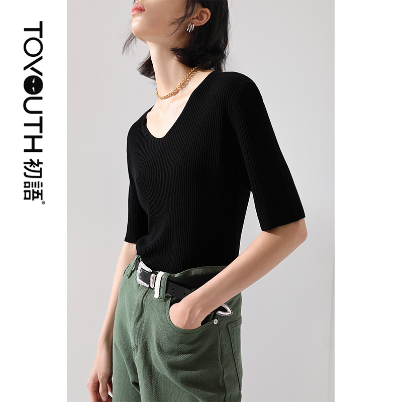 8020323001 2020 Hollow Hit Color Knit Round Neck Pullover Short Loose Sweater Collar Long Sleeve Women Sweaters